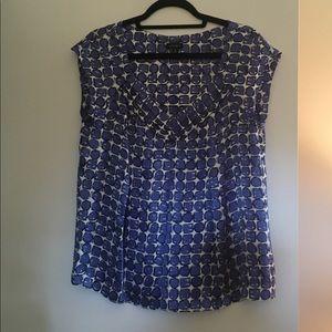 Nine West silk blue, black and white print blouse